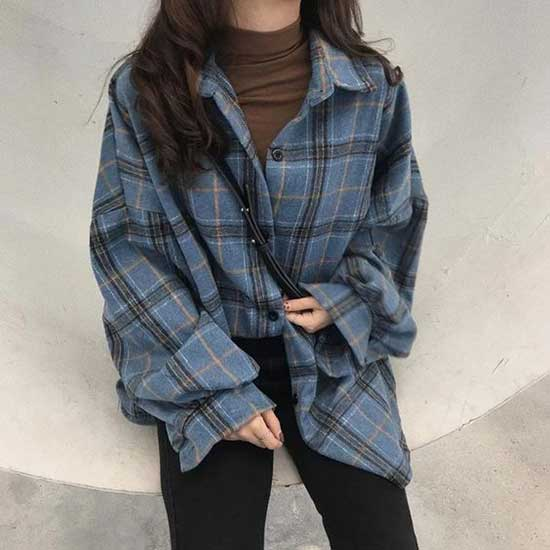 Cute Flannel Aesthetic Outfits-15