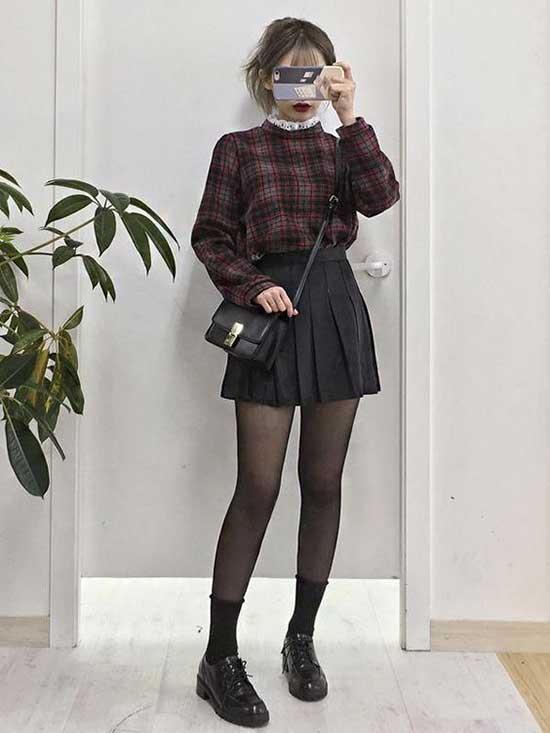 Mini Plaid Skirt Korean Girl Outfits-15