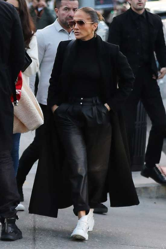 Jlo Black Outfits with White Shoes-16