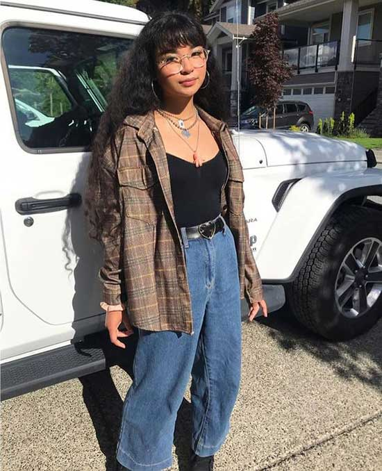 Cute Wide Legged Pants Flannel Outfits-16