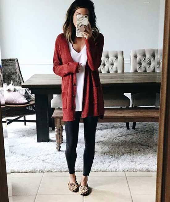 Black Leggings Cardigan Outfit Ideas-17