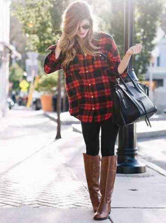 Plaid Shirt with Black Leggings Outfit Ideas-18