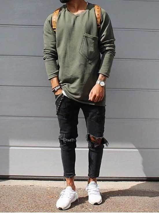 Ripped Black Denim White Shoes Outfit Men-19