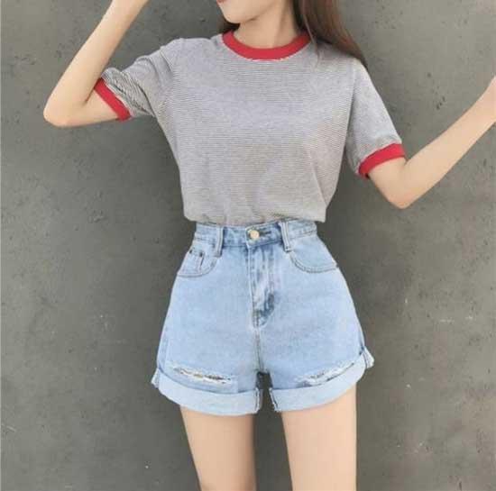 Korean Girl High Waist Short Outfits-21