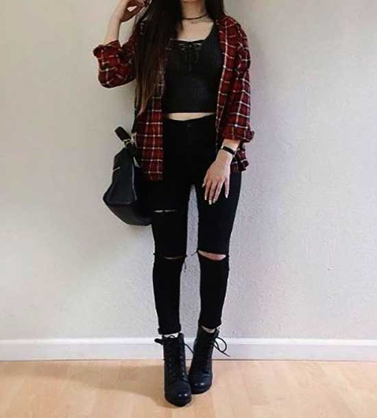 Cute Flannel Outfits-27