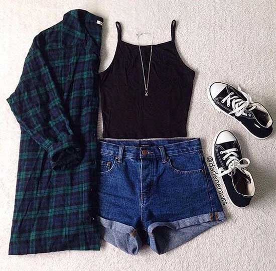 Cute Flannel School Outfits-6