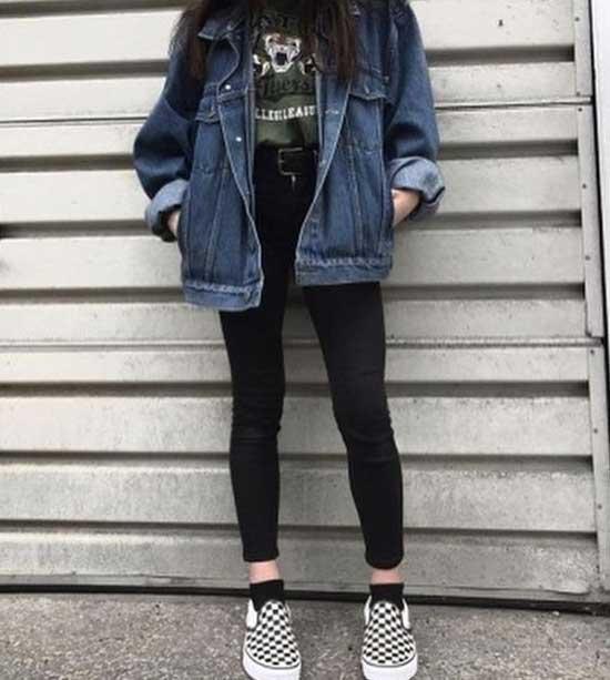 Korean Girl Checkered Vans Outfits-6