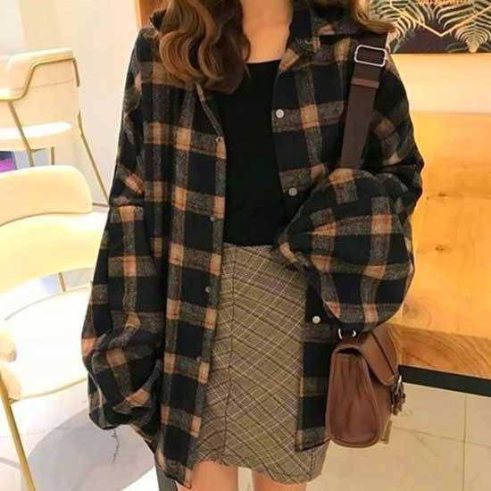 Cute Oversized Flannel Outfits-7