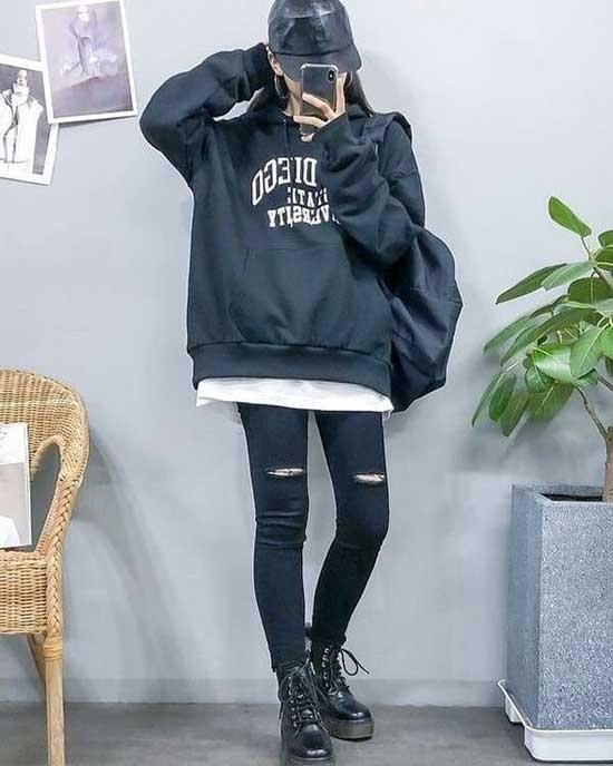 Black Jeans Korean Girl Outfits-8