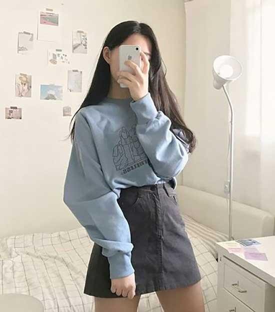 Sweater and Mini Skirt Korean Girl Outfits-9