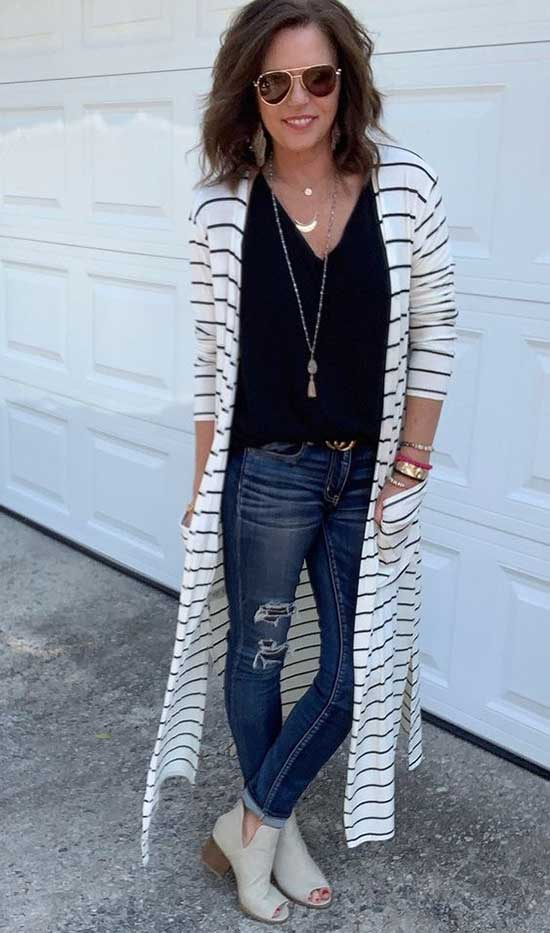 Casual Striped Cardigan for Women Over 50-10
