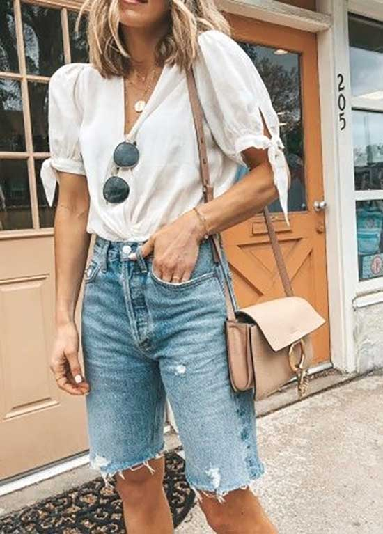 Cute White Shirt Outfits with Jean Shorts-10