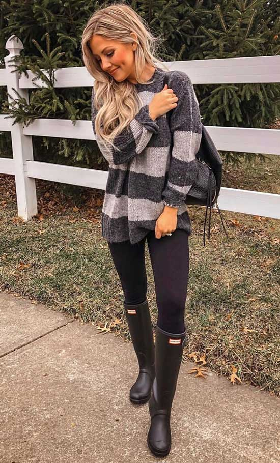 Black Leggings Rainy Day office Outfit-11