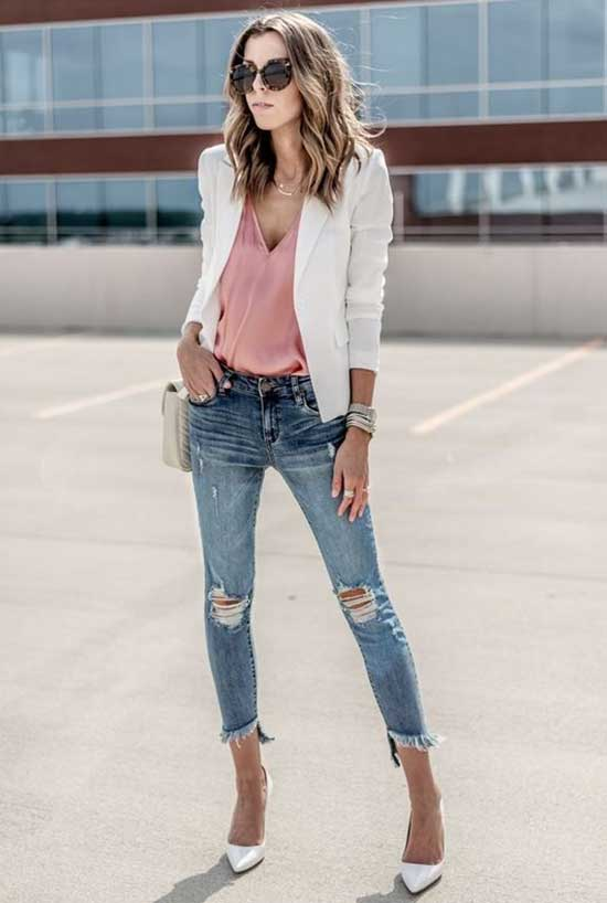 White Blazer Ripped Jeans Outfit Ideas-11