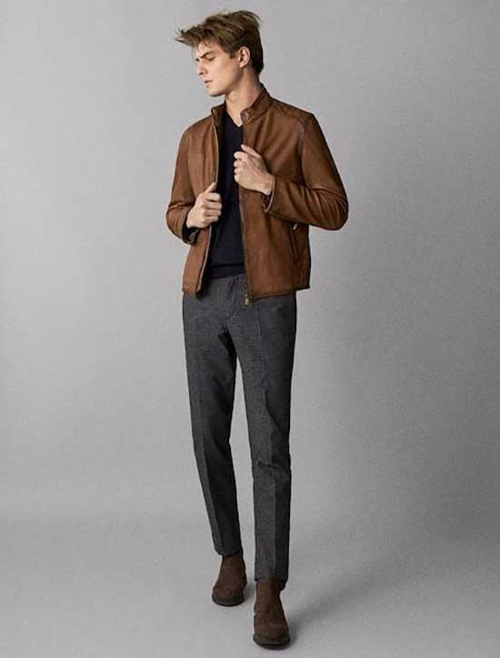 Casual Date Brown Jacket Outfit Male-12