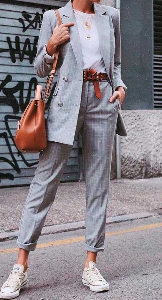 Casual Checkered Suit Street Fashion-13