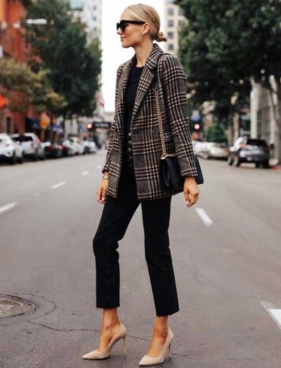 Casual Plaid Blazer for Women Over 50-15