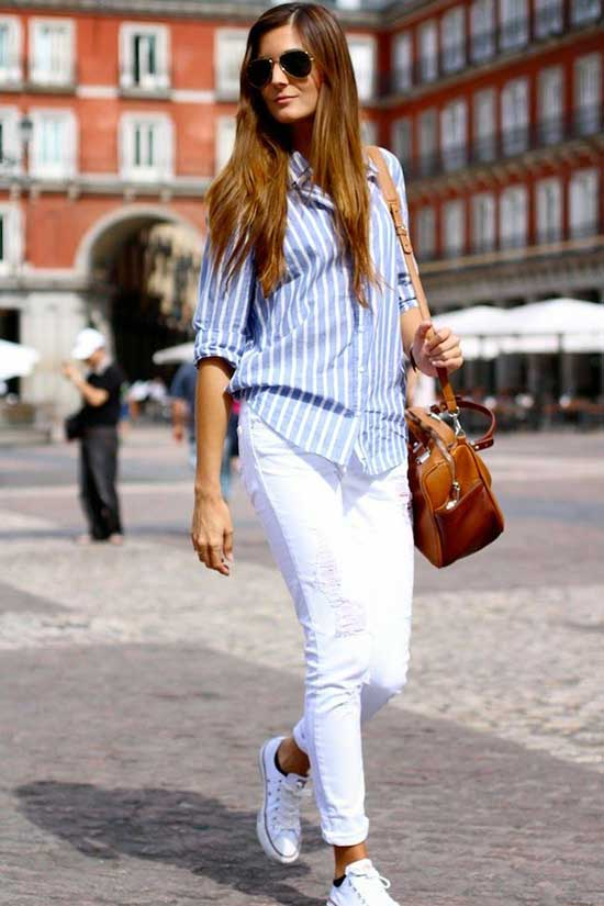 Cute and Casual Blue Shirt Outfits-16