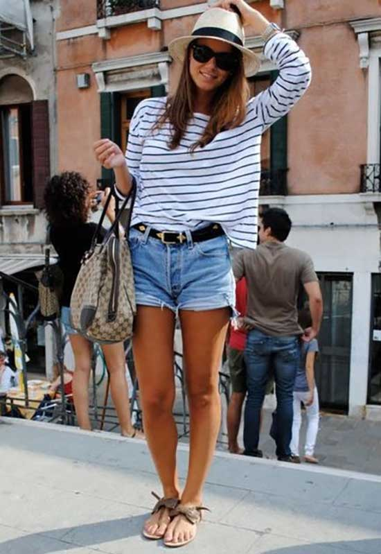 Cute Outfits with Jean Shorts and Flats-16