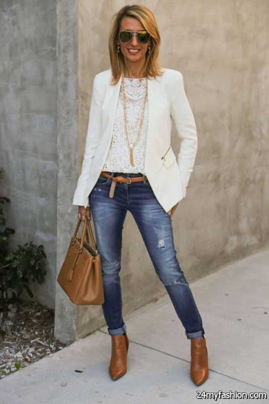 White Blazer Boots and Jeans Outfit Ideas-16