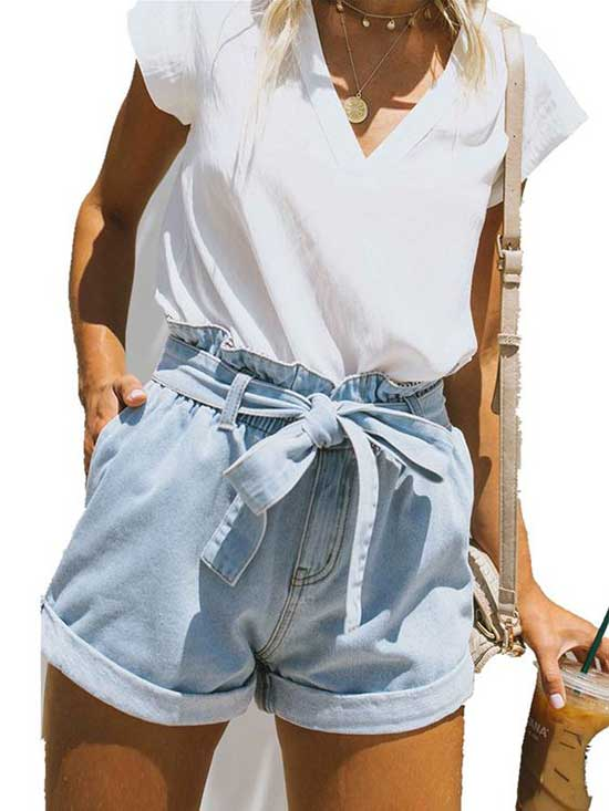 Cute Outfits with High Waisted Jean Shorts-17