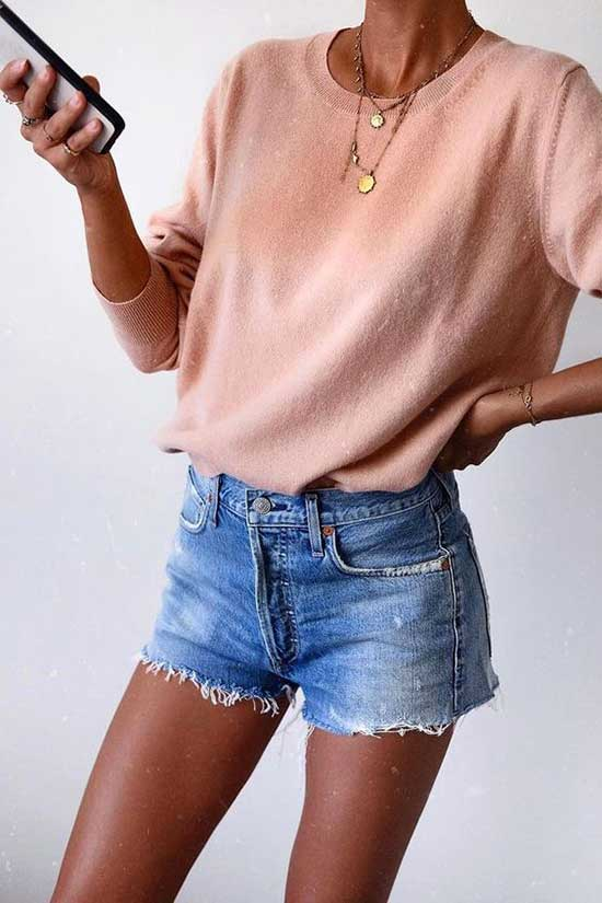 Cute Spring Outfits with Jean Shorts-18