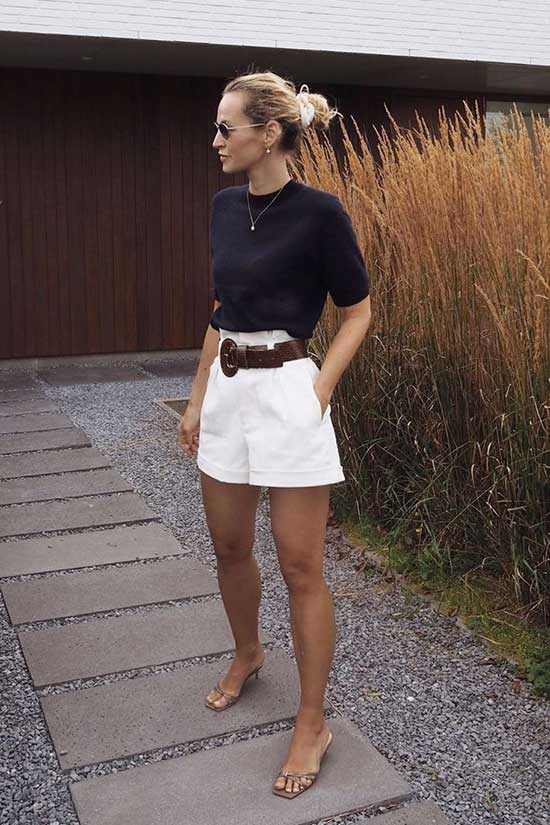 High Waisted Shorts Outfit Ideas for Women Over 40-19