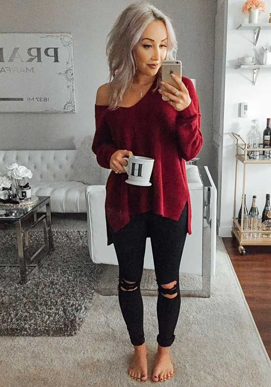 Cute and Casual Ripped Black Jeans Outfits-20