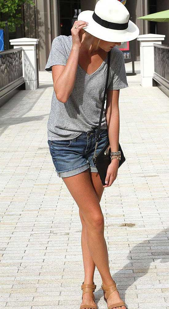 Simple Cute Outfits with Jean Shorts-9