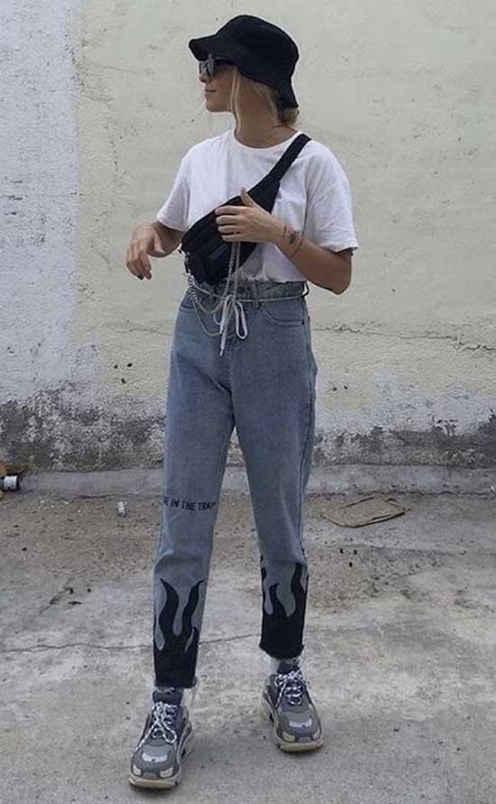 Boyfriend Jeans Cute Hat Outfit Ideas-10