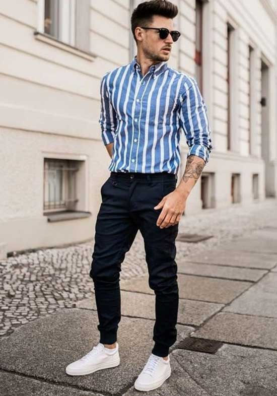 Striped Shirt Men's Casual Outfit Ideas-10
