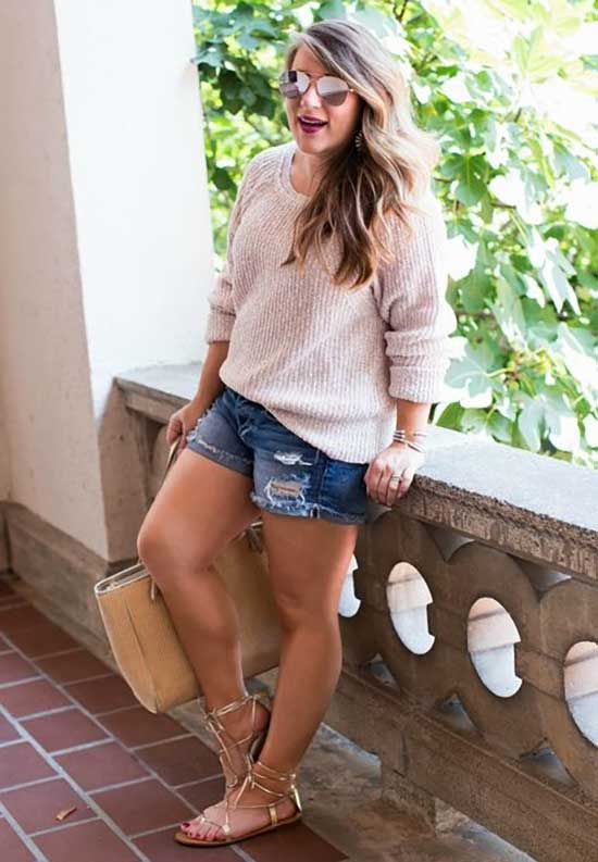 Plus Size Sweater Summer Outfit Ideas-12