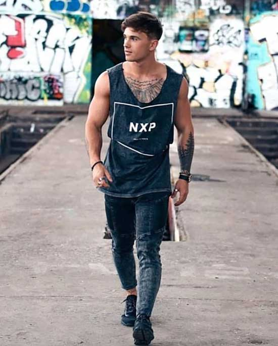 All Black Tank Top Outfits Men-13