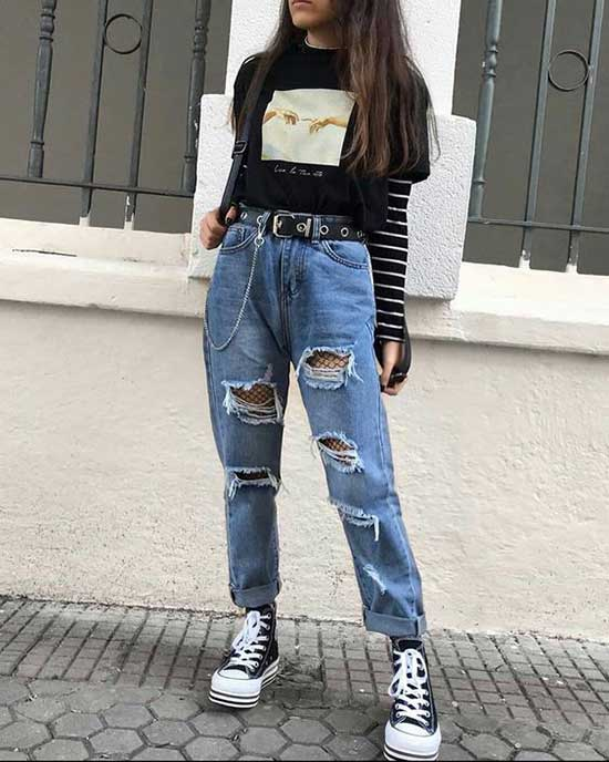 Boyfriend Jeans Aesthetic Outfit Ideas-13