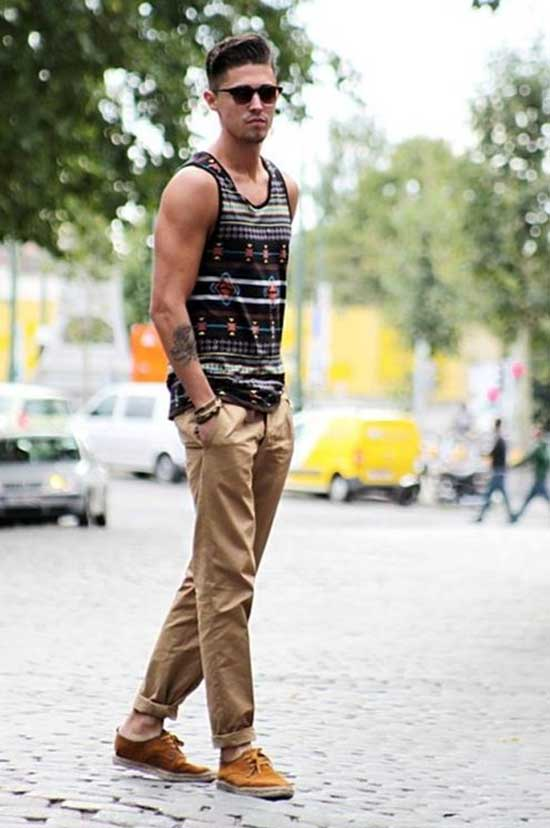 Casual Colors Tank Top Outfits Men-14