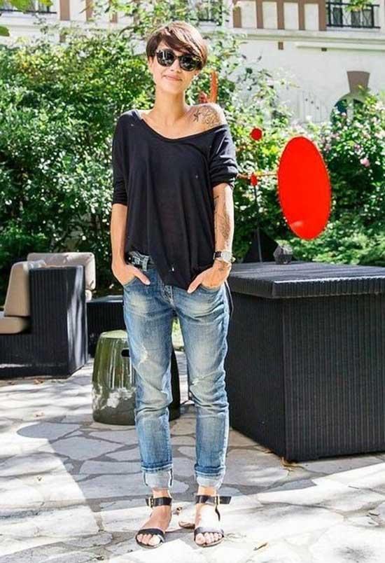 Loose Blouse Boyfriend Jeans Outfit Ideas-17