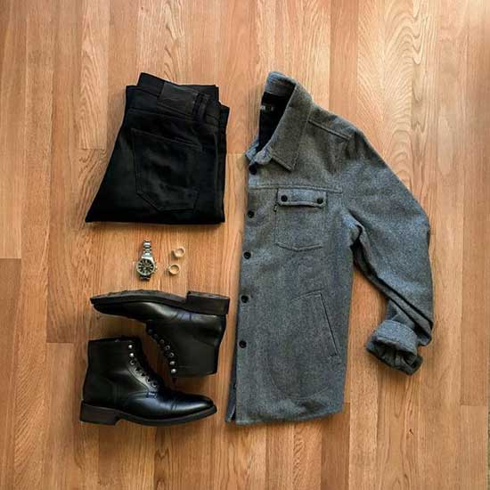 Black Boots Men's Casual Outfit Ideas-20
