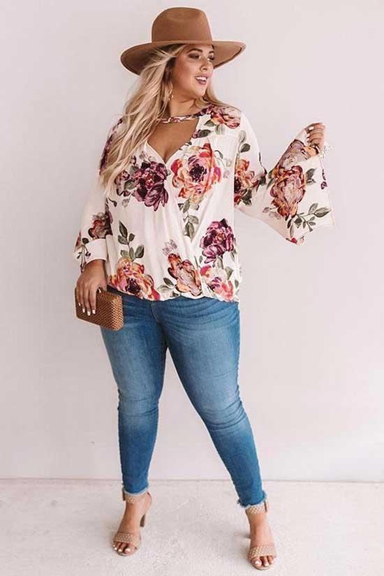 Floral Shirt Plus Size Summer Outfit Ideas-20