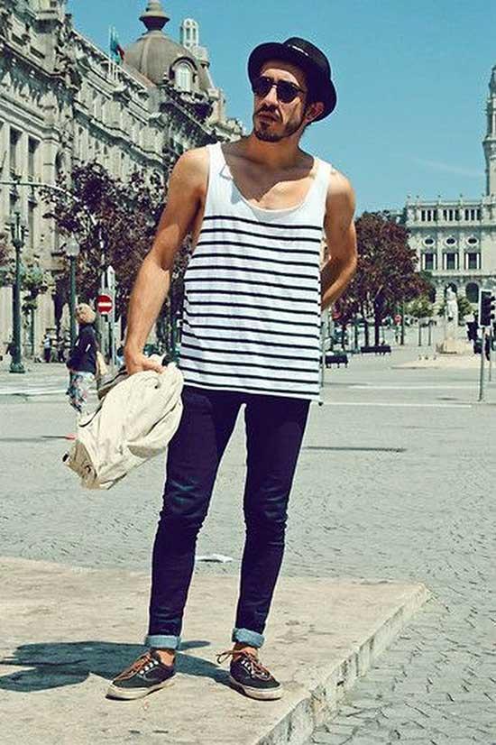 Striped Print Tank Top Outfits Men-6