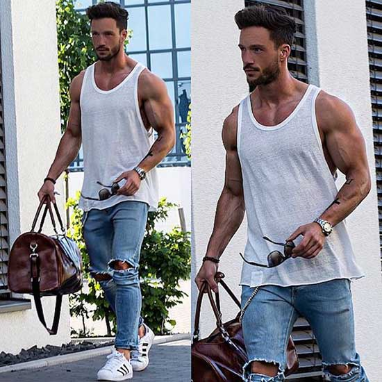 Tank Top Ripped Blue Jeans Outfits Men-7