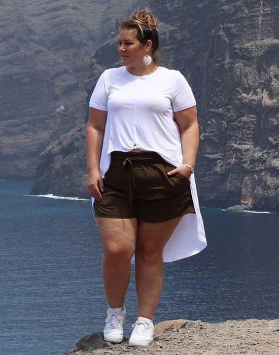 Plus Size Mini Shorts Summer Outfit Ideas-8