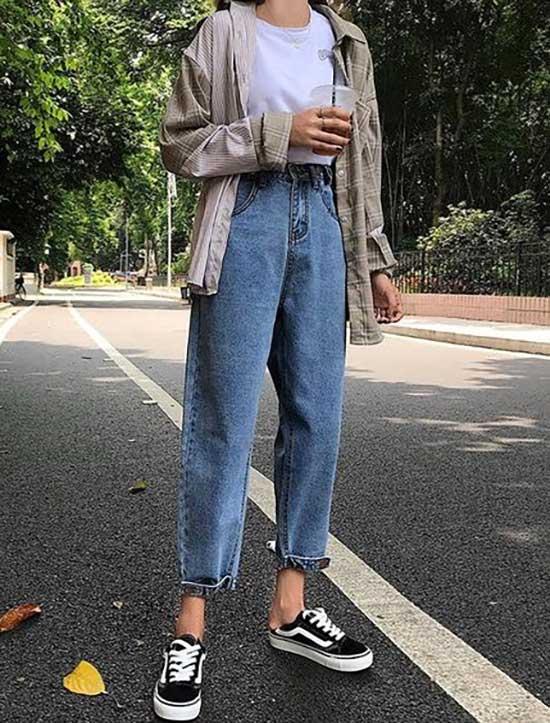 Wide Legged Boyfriend Jeans Outfit Ideas-8
