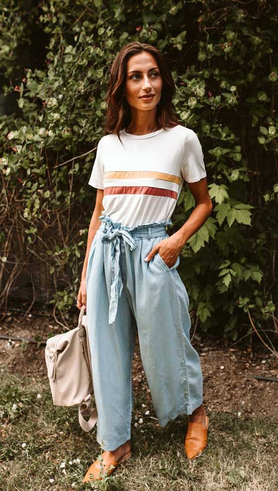 Blue Outfits with Flowy Pants-11