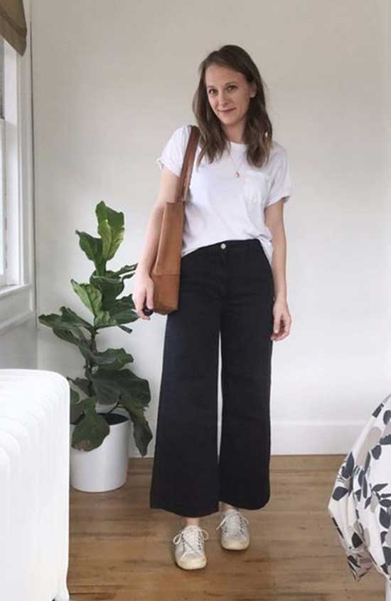 Outfits with Black Flowy Pants-12