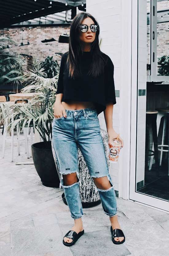 Casual Summer Outfits with Slides-13