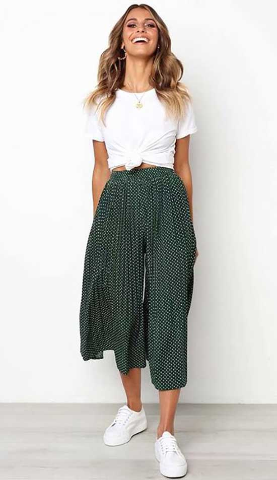 Outfits with Short Flowy Pants-18