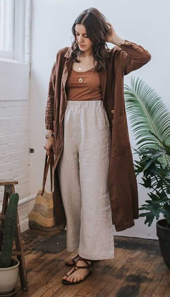 Outfits with Linen Flowy Pants-19