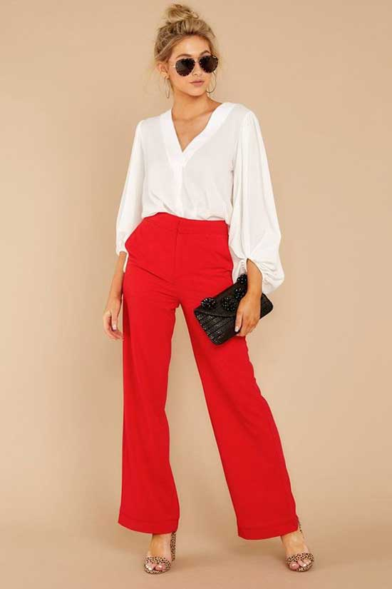 Outfits with Red Flowy Pants-20