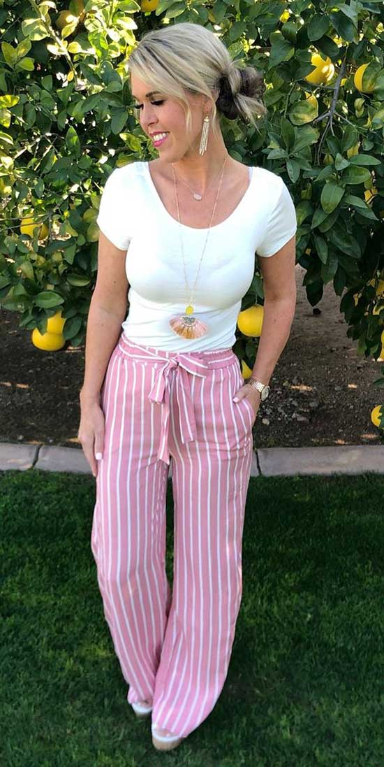 Outfits with Pink Flowy Pants-6