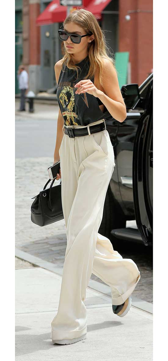 White Flowy Pants Outfit